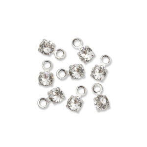 Beads & Swarovski Crystals Swarovski 3mm Round Crystal Charm (Diamond - APRIL), Pack of 8