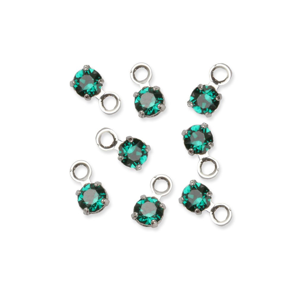 Beads & Swarovski Crystals Swarovski 3mm Round Crystal Charm (Emerald - MAY), Pack of 8