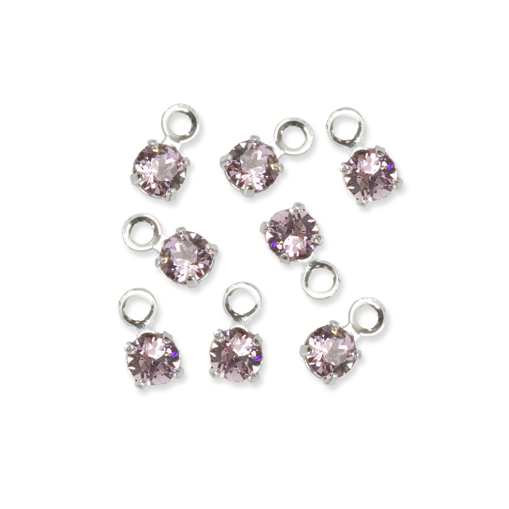 Beads & Swarovski Crystals Swarovski 3mm Round Crystal Charm (Alexandrite - JUNE), Pack of 8, *Please Read Product Note