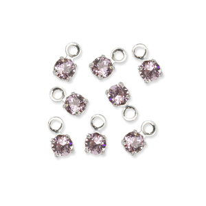 Beads & Swarovski Crystals Swarovski 3mm Round Crystal Charm (Alexandrite - JUNE), Pack of 8