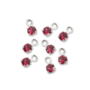 Beads & Swarovski Crystals Swarovski 3mm Round Crystal Charm (Ruby - JULY), Pack of 8