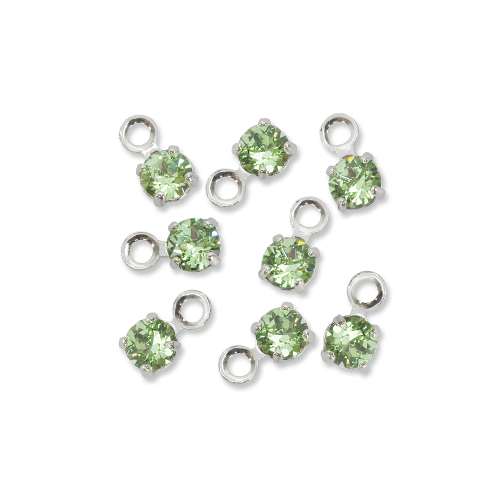 Beads & Swarovski Crystals Swarovski 3mm Round Crystal Charm (Peridot - AUGUST), Pack of 8