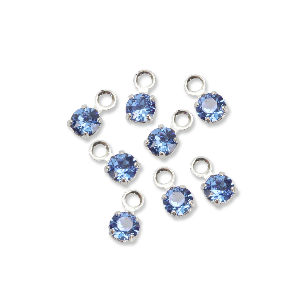 Beads & Swarovski Crystals Swarovski 3mm Round Crystal Charm (Sapphire - SEPTEMBER), Pack of 8
