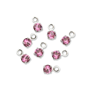 Beads & Swarovski Crystals Swarovski 3mm Round Crystal Charm (Pink Tourmaline - OCTOBER), Pack of 8