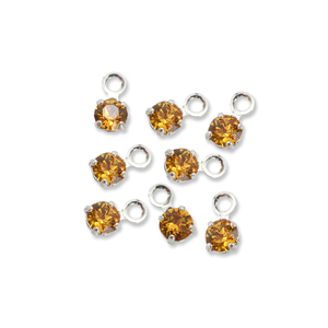 Beads & Swarovski Crystals Swarovski 3mm Round Crystal Charm (Topaz - NOVEMBER), Pack of 8