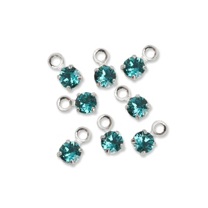 Beads & Swarovski Crystals Swarovski 3mm Round Crystal Charm (Blue Zircon - DECEMBER), Pack of 8