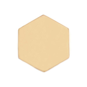 "Metal Stamping Blanks Brass Hexagon 29.5mm (1.16""), 24 Gauge, Pack of 5"