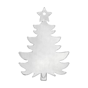 "Metal Stamping Blanks Aluminum Holiday Tree Ornament  Blank 73mm (2.88"") x 51mm (2"")"