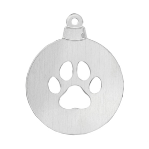 "Metal Stamping Blanks Aluminum Ball with Paw Cutout Ornament Blank, 63.5mm (2.5"") x 51mm (2""), 14 Gauge"