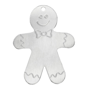 "Metal Stamping Blanks Aluminum Gingerbread Man Ornament  Blank, 63.5mm (2.5"") x 51mm (2""), 14 Gauge"