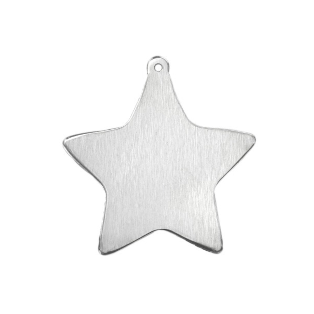 "Metal Stamping Blanks Aluminum Star Ornament Blank,  33mm (1.3"") x  25.4mm (1""), 14 Gauge, Pack of 2"