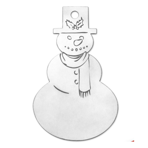 "Metal Stamping Blanks Aluminum Snowman Ornament Blank,  76mm (3"") x  44.5mm (1.75""), 14 Gauge"