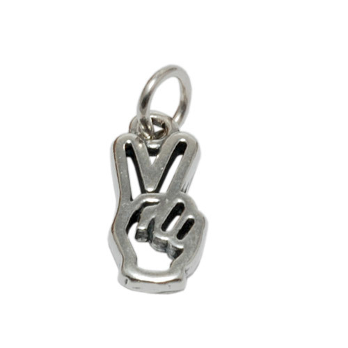 Charms & Solderable Accents Sterling Silver Hand with Peace Sign Charm