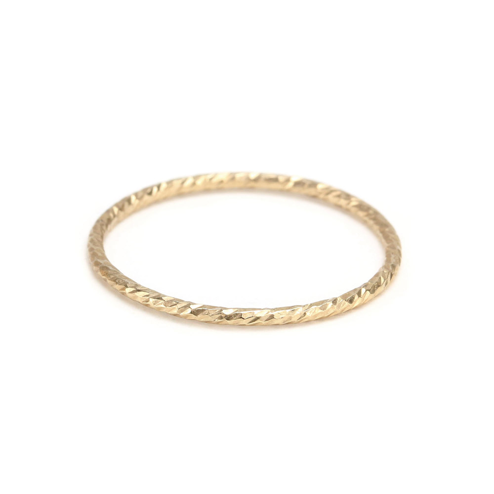 Metal Stamping Blanks Gold Filled Sparkle Texture Stacking Ring, SIZE 6