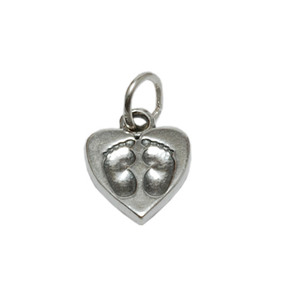 Charms & Solderable Accents Sterling Silver Heart with Baby Feet Charm