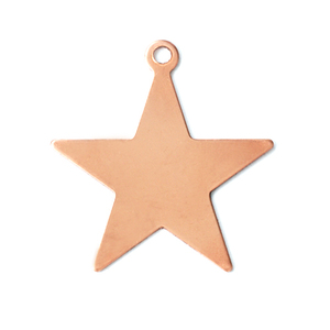 "Metal Stamping Blanks Copper Star with Top Loop, 25mm (1""), 24g"