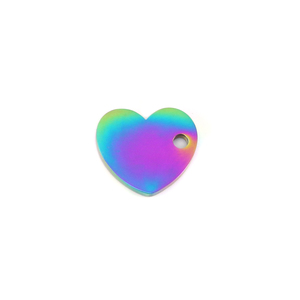 "Metal Stamping Blanks Stainless Steel, Rainbow Color Heart with Side Hole, 12mm (.47"") x 10.9mm (.43""), 16 Gauge, Pack of 5"