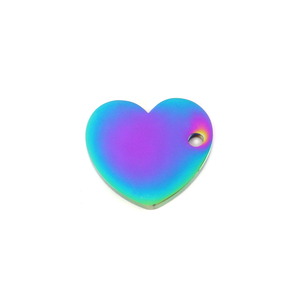 "Metal Stamping Blanks Stainless Steel, Rainbow Color Heart with Side Hole, 15mm (.59"") x 13.6mm (.53""), 16 Gauge, Pack of 5"