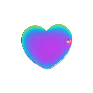 "Metal Stamping Blanks Stainless Steel, Rainbow Color Heart with Side Hole, 25mm (1"") x 22.7mm (.89""), 16 Gauge, Pack of 2"