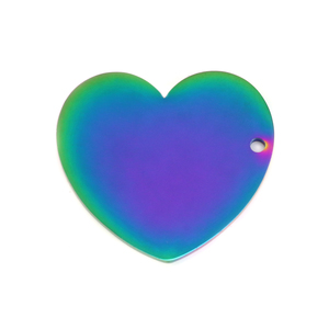 "Metal Stamping Blanks Stainless Steel, Rainbow Color Heart with Side Hole, 30mm (1.18"") x 27.4mm (1.08""), 16 Gauge, Pack of 2"