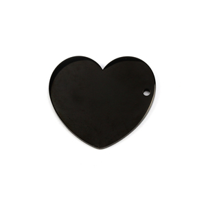 "Metal Stamping Blanks Stainless Steel, Black Heart with Side Hole, 25mm (1"") x 22.7mm (.89""), 16 Gauge, Pack of 2"