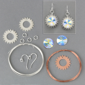 "Kits & Sample Packs Spiro Earring Kit, 19mm (.75"") with 14mm (.55"") 2xAB Swarovski Crystal Stones"