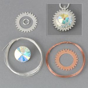 "Kits & Sample Packs Spiro Pendant Kit, 25mm (1"") with 18mm (.71"") 2xAB Swarovski Crystal Stone"