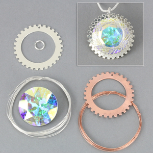 "Kits & Sample Packs Spiro Large Pendant Kit, 34mm (1.34"") with 27mm (1.06"") 2xAB Swarovski Crystal Stone"