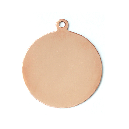 "Metal Stamping Blanks Copper Circle with Top Loop, 25mm, (1""), 24g"