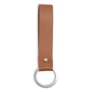 Rivets and Findings  Base Metal Key Ring with Brown / Coffee Color Faux Leather Strap