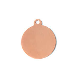 "Metal Stamping Blanks Copper Circle, 3/4"" (19mm), with Top Loop, 24g"