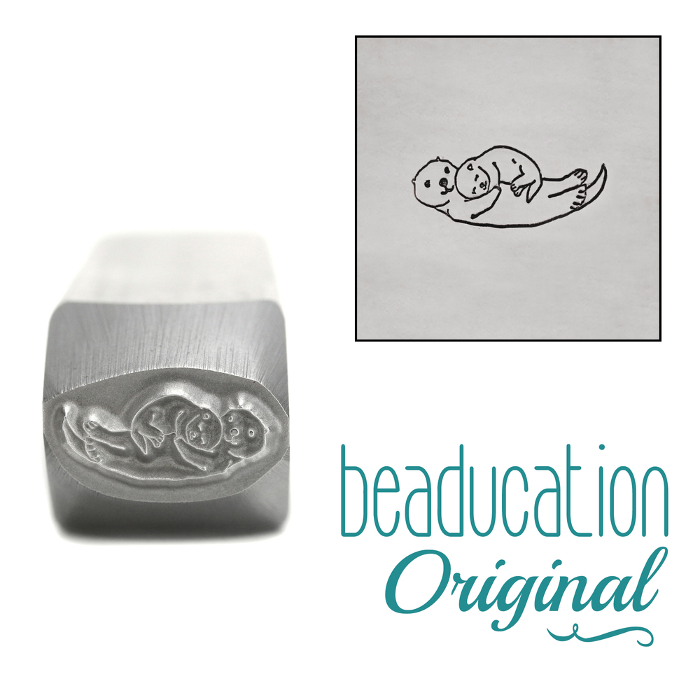 Metal Stamping Tools Mama (or Papa) and Baby Otter Metal Design Stamp, 10.5mm - Beaducation Original