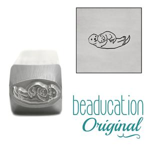 Metal Stamping Tools Mama (or Papa) and Baby Otter Metal Design Stamp, 10.5mm - Beaducation Original