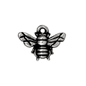 Charms & Solderable Accents Honeybee Charm, Silver Plated Pewter, 15.7mm