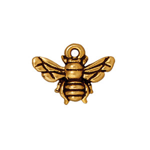 Charms & Solderable Accents Honeybee Charm, Gold Plated Pewter, 15.7mm