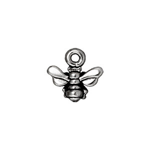 Charms & Solderable Accents Honeybee Charm, Silver Plated Pewter,  Pack of 4, 11.2mm