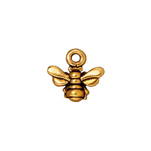 Charms & Solderable Accents Honeybee Charm, Gold Plated Pewter, Pack of 4, 11.2mm