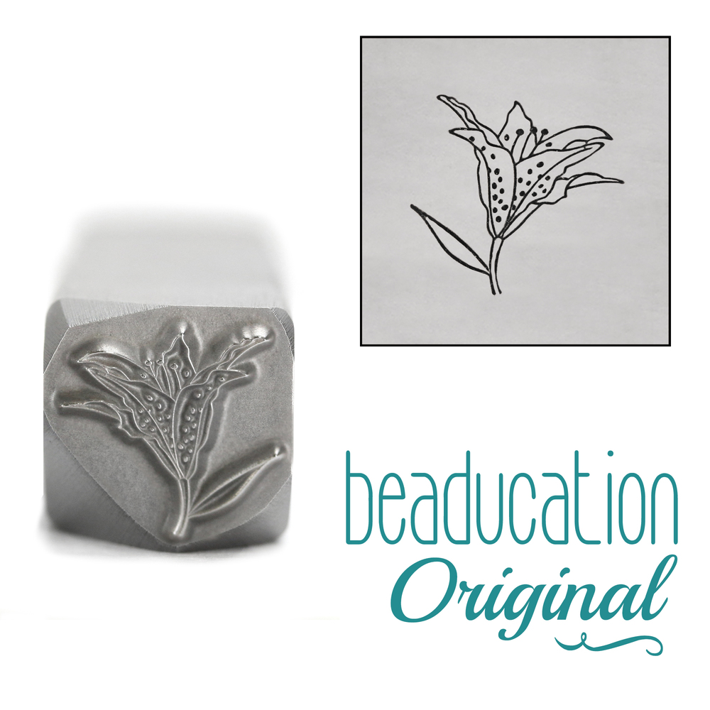 Metal Stamping Tools Half Opened Lily Metal Design Stamp, 10mm - Beaducation Original