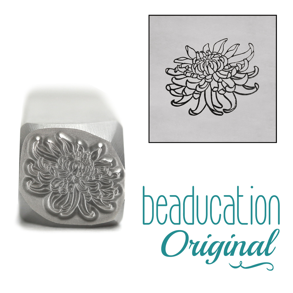Metal Stamping Tools Exotic Chrysanthemum Metal Design Stamp, 11mm - Beaducation Original