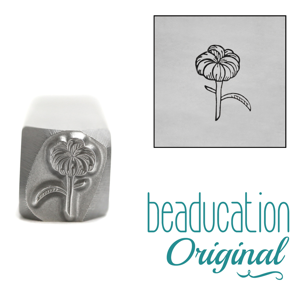 Metal Stamping Tools Chrysanthemum Bud Metal Design Stamp, 8.1mm - Beaducation Original