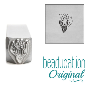 Metal Stamping Tools Magnolia Closed Flower Bud Metal Design Stamp, 8mm - Beaducation Original