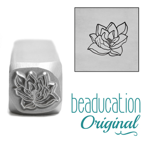 Metal Stamping Tools Magnolia Open Flower 2 Metal Design Stamp, 10mm - Beaducation Original