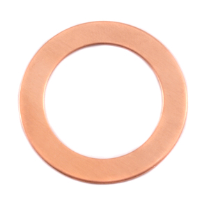 "Metal Stamping Blanks Copper Washer, 32mm (1.25"") with 22mm (.87"") ID, 24g, Pk of 5"