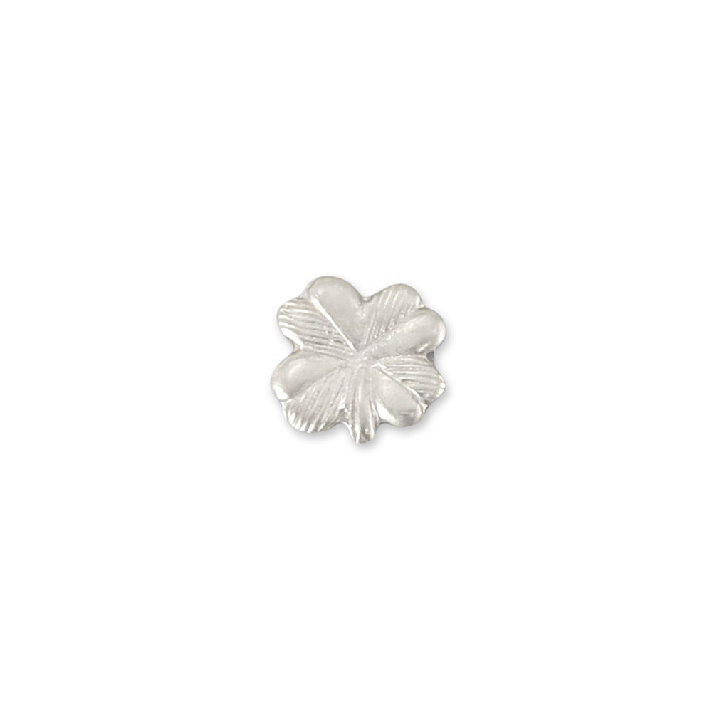 "Charms & Solderable Accents Sterling Silver Four Leaf Clover Solderable Accent, 5.3mm (.21"") x 5.1mm (.2""), 26g - Pack of 5"