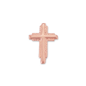 "Charms & Solderable Accents Copper Textured Cross Solderable Accent, 10.9mm (.43"") x 7.5mm (.3""), 24g - Pack of 5"