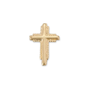 "Charms & Solderable Accents Gold Filled Textured Cross Solderable Accent, 10.9mm (.43"") x 7.5mm (.3""), 26g - Pack of 5"