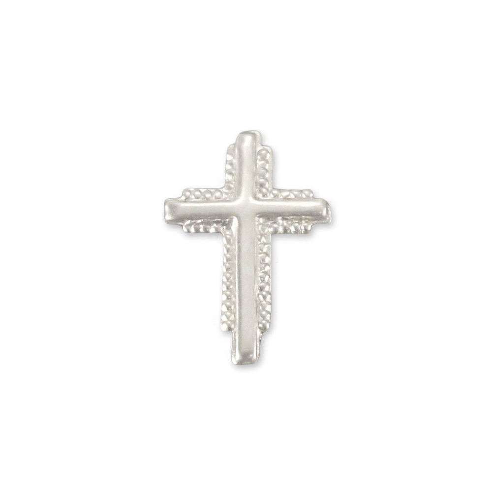 "Charms & Solderable Accents Sterling Silver Textured Cross Solderable Accent, 10.9mm (.43"") x 7.5mm (.3""), 26g - Pack of 5"
