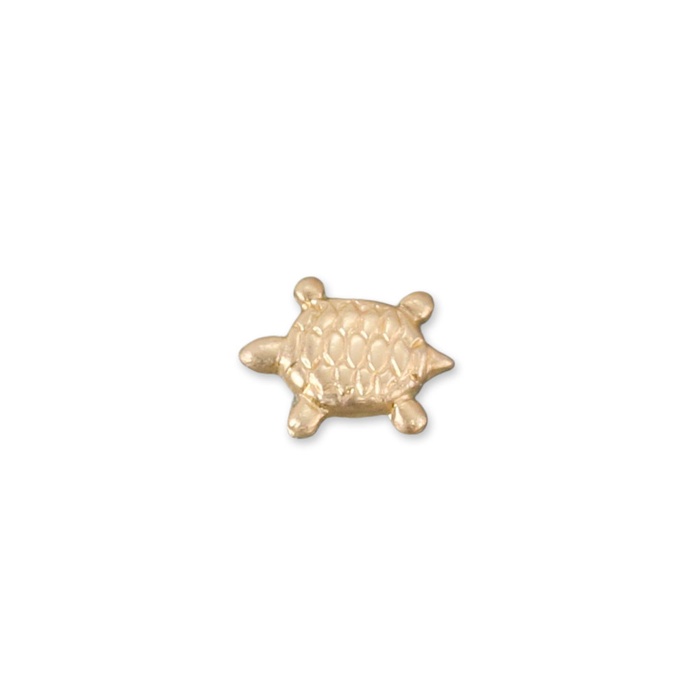 "Charms & Solderable Accents Gold Filled Sea Turtle Solderable Accent, 6.8mm (.27"") x 5.4mm (.21""), 26 Gauge - Pack of 5"