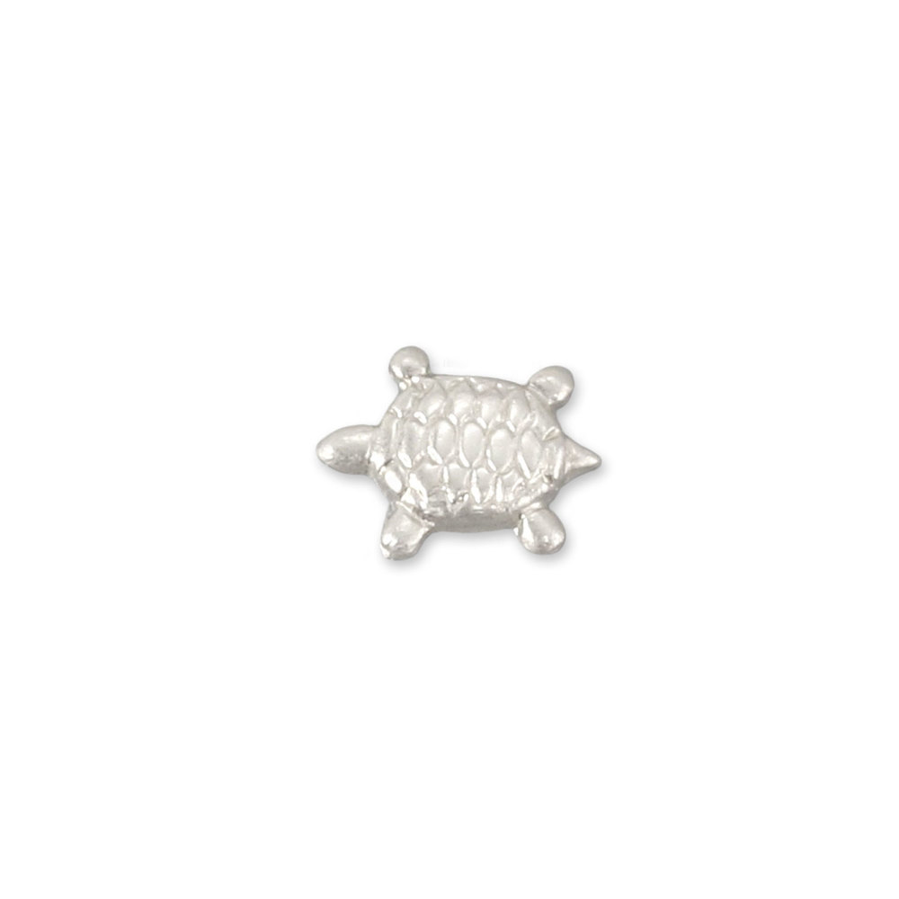 "Charms & Solderable Accents Sterling Silver Sea Turtle Solderable Accent, 6.8mm (.27"") x 5.4mm (.21""), 26 Gauge - Pack of 5"