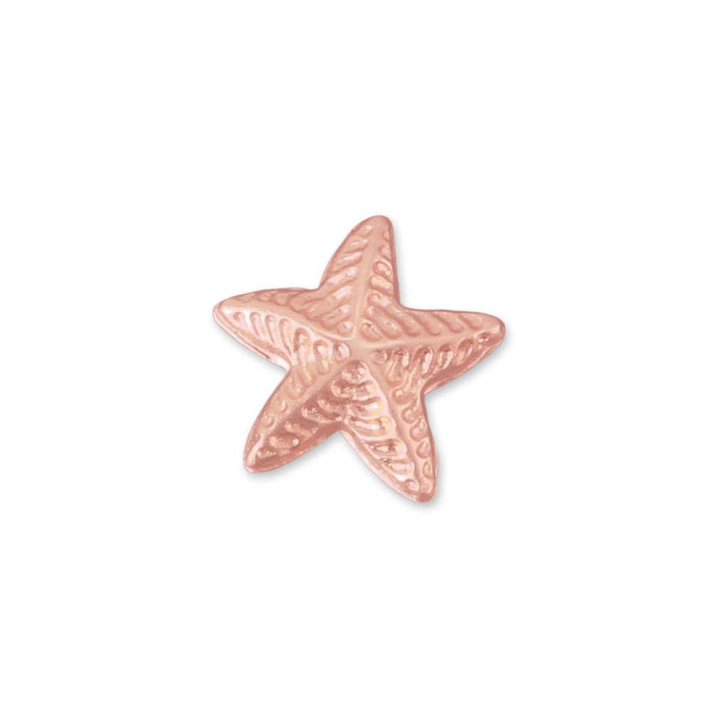 "Charms & Solderable Accents Copper Puffy Starfish Solderable Accent, 8.9mm (.35"") x 8.5mm (.33""), 24g - Pack of 5"